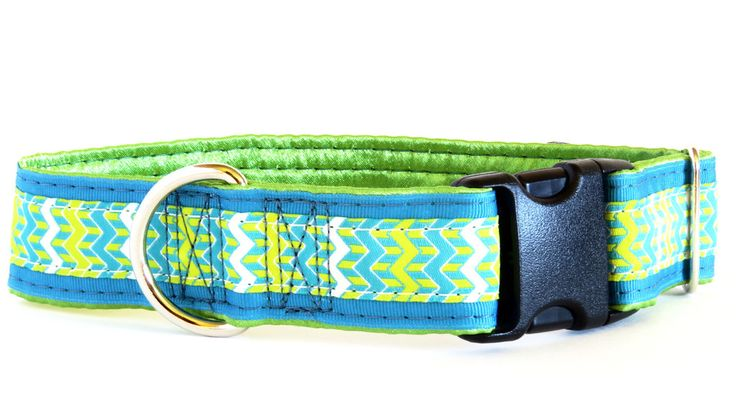 BaZINGa Teal Satin Lined Dog Collar on sale at www.ColossusCanine.com now!
