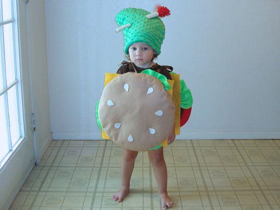 Baby Costume Cheeseburger Hamburger Halloween Costume Purim Dress Up Photo Prop Boys Costume Pickle Costume Newborn Infant Toddler