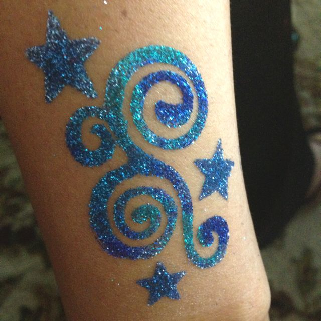 Glitter Tattoos are amazing when you use the Shimmer Body Art Kit!