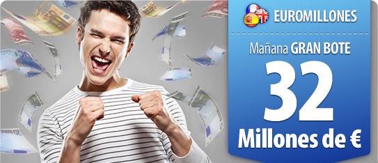 Parece que a Euromillones le cuesta crecer pero esta vez el bote ha aumentado muchísimo y ya volvemos a tener un bote que supera los 30 millones. ¡¡Sí!! esto se pone interesante, así que hay que jugarlo y darle un poco de alegría al invierno.     http://www.ventura24.es/euromillones/euromillones.do?idpartner=social_source