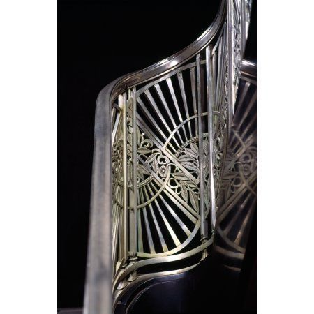 Close-up of art deco stairway metalwork Two North Riverside Plaza 400 West Madison Street Chicago Illinois USA Canvas Art - Panoramic Images (27 x 9)