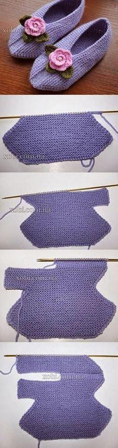 Rosa acessórios em tricô & crochê: Sapatinho de tricot
