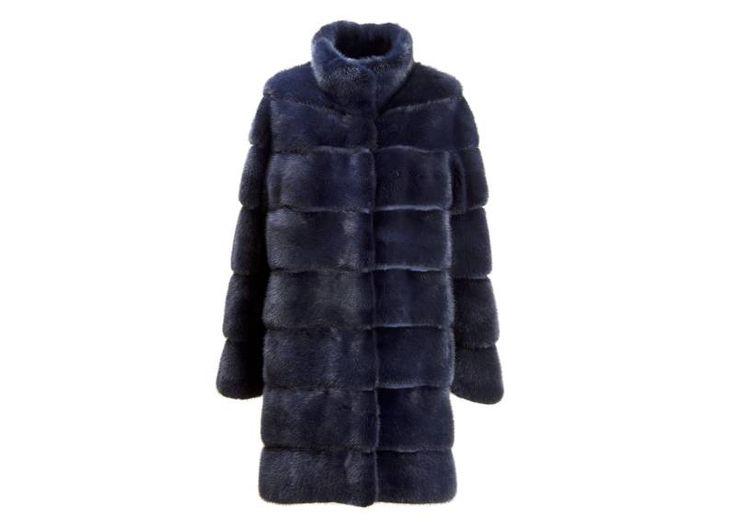 Cappotto visone blu  inserti camoscio  lunghezza cm.93 Mod. Serena