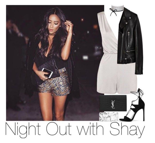 """""""Night Out with Shay"""" by zarryalmighty ❤ liked on Polyvore featuring Topshop, Yves Saint Laurent, Stuart Weitzman, Casetify and shaymitchell"""