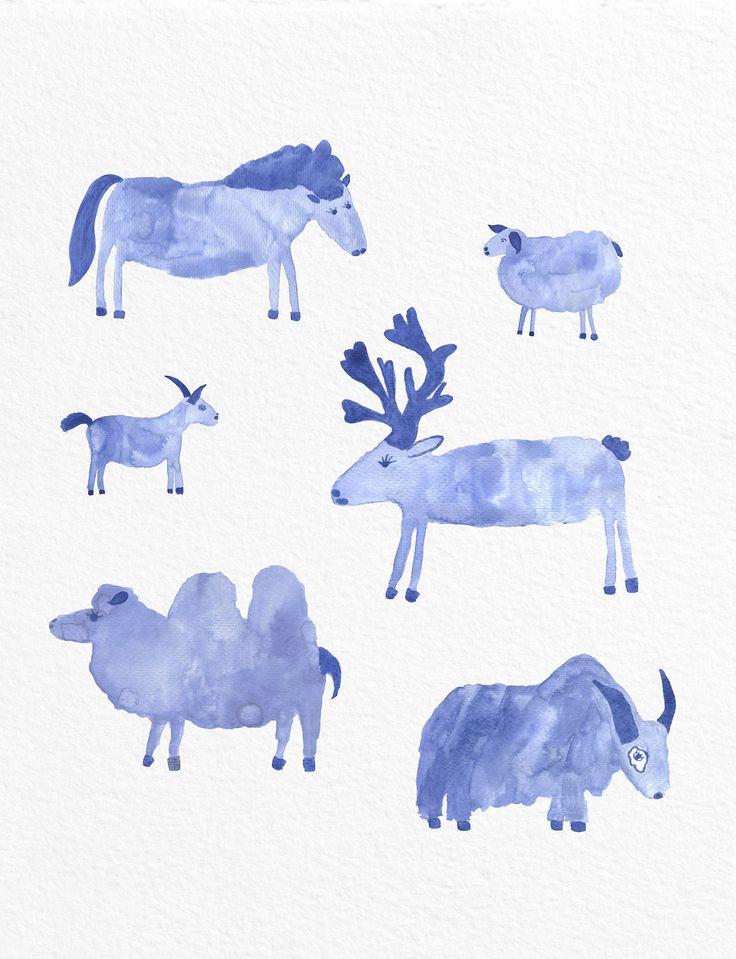 Jelena Matriszenka #watercolor #watercolors #blue #animals #cute #picture #illustration #jelenamatriszenka #watercolor #watercolorillustration #illustration #watercolorart #art #akwarele #creature #cute