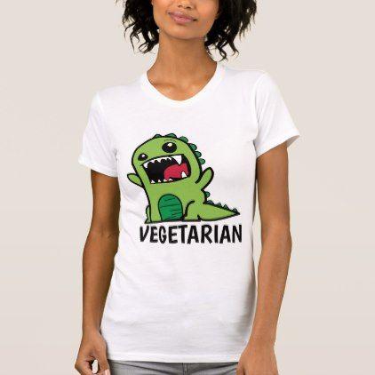 VEGETARIAN DINOSAUR Funny T-shirts - vegan personalize diy customize unique