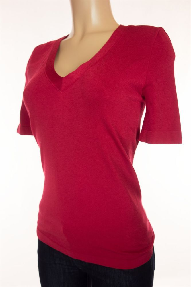 WOLFORD Short Sleeve Top Size L Red Knit Casual V Neck #Wolford #KnitTop #Casual