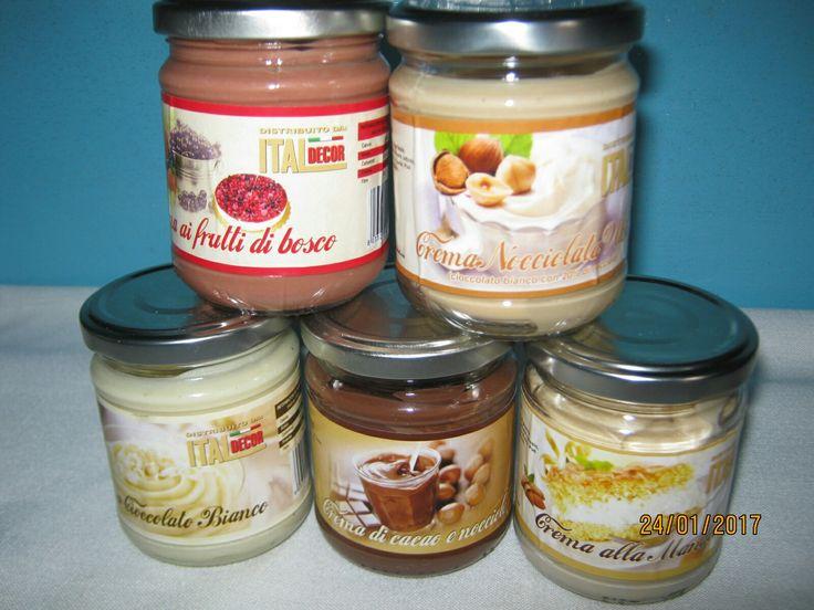 NUOVA COLLABORAZIONE. Creme spalmabili e da farcitura  #ITALDECOR SENZA OLIO DI PALMA. SENZA GLUTINE. 5 vasetti : nocciole e cacao - mandorle - nocciole - cioccolato bianco - frutti di bosco. https://www.facebook.com/Italdecor-980718808639213/