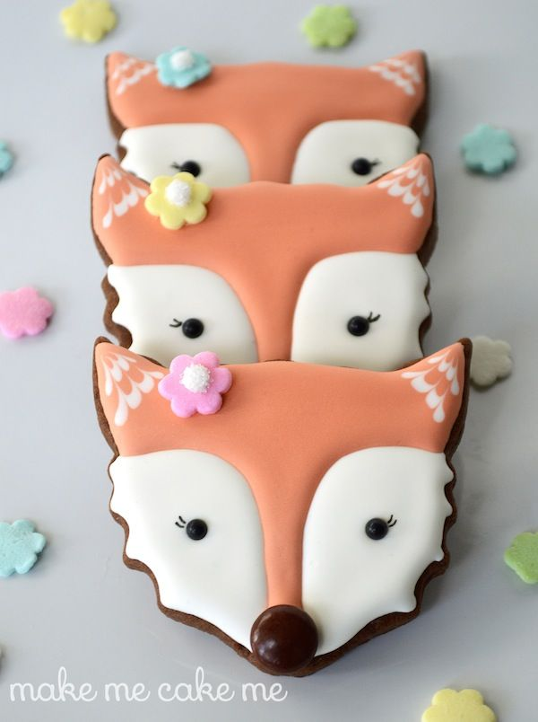 Fox Cookies from a Cat Face Cutter   Make Me Cake Me