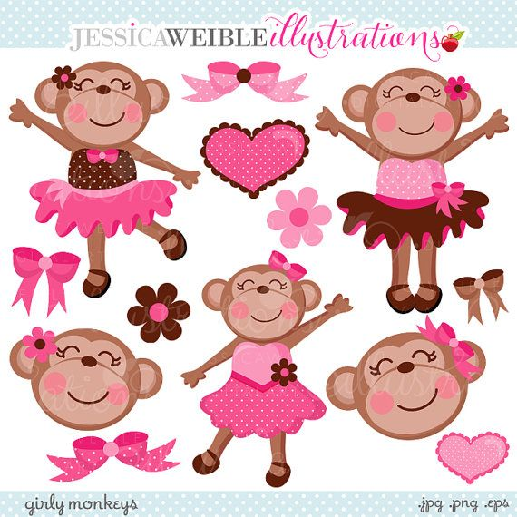 Girly Monkeys Cute Digital Clipart Commercial от JWIllustrations