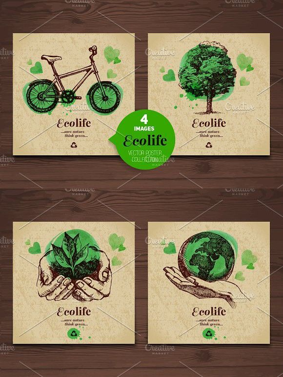 Eco Poster Vector Collection Green Marketing Poster Design