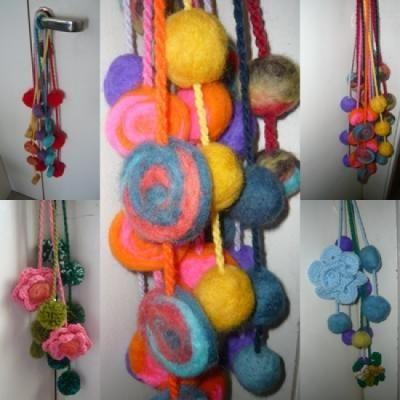 Colgantes en lana fieltro y tejido al crochet para for Manijas para puertas