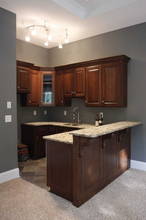Home Bar Color Wood Tones Wet Bar for Media Room by Grainda Builders, Inc. on Houzz