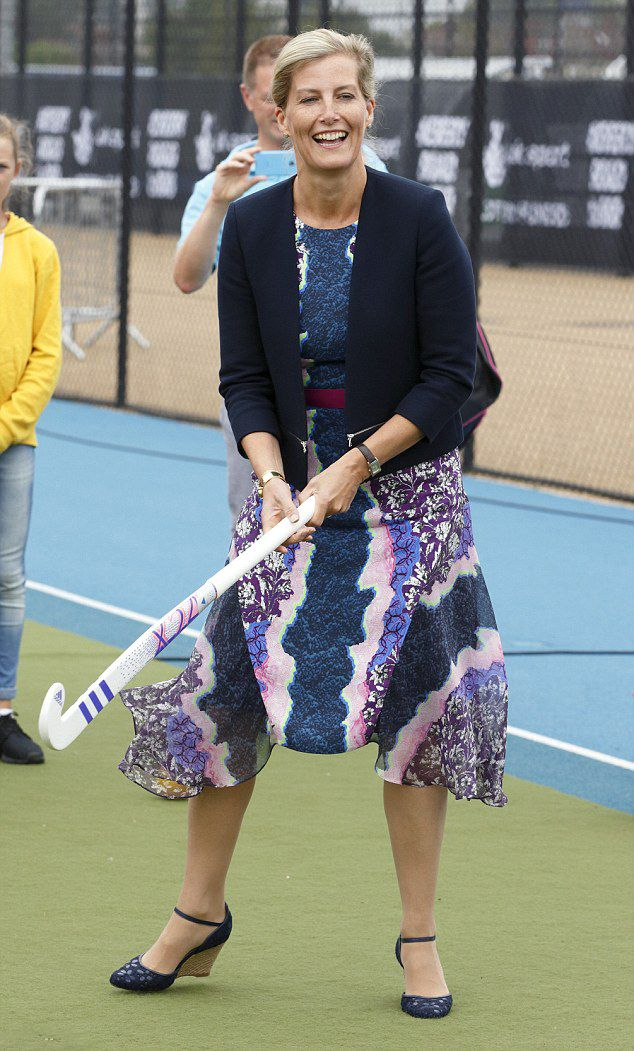 Sophie, Countess Wessex wore a Peter Pilotto dress, a jacket by Sandro and a pair of sky-high wedges to a hockey match in London this afternoon, August 30, 2015