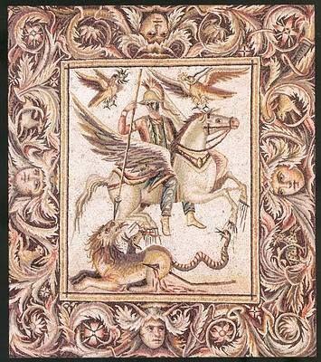 Mosaic of Bellerophon, from Zeugma, Turkey.