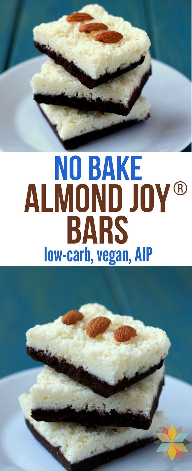 These No-Bake Almond Joy Bars are AMAZING! They're easy to make, freeze well & are loaded with healthy ingredients. Low-carb, paleo, & AIP. via @wholenewmom