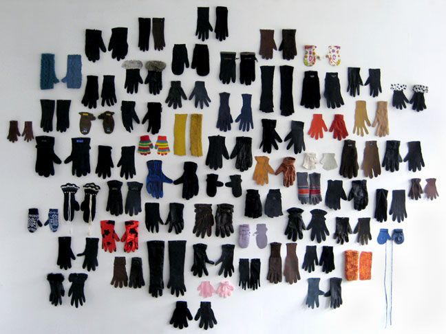 Lans Hermanas Iglesias, Lost Glove, 2009, collection of 62 single gloves found in Paris (2008-2009 and gouache on paper