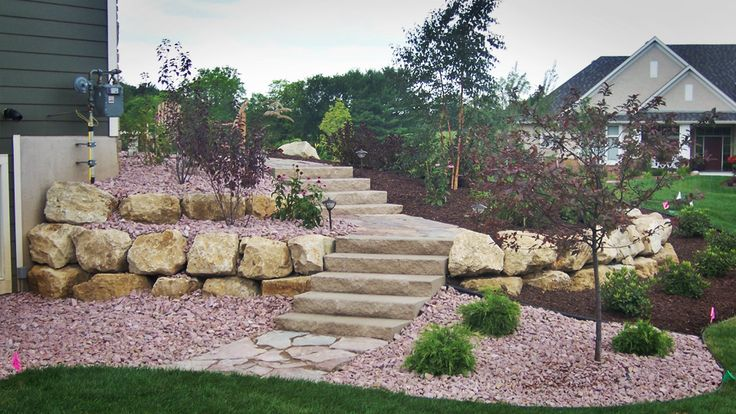 Walkout basement landscaping and steps on side of home