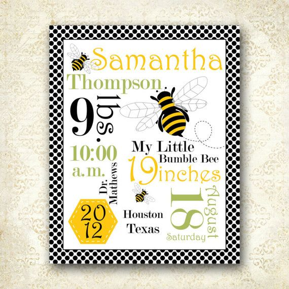 Printable Personalized Bumble Bee Nursery Word by AllbyWanda, $14.95