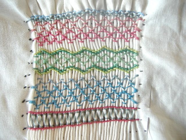 Smocking sampler in progress.