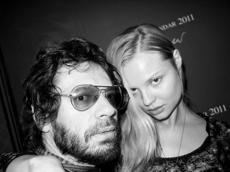 OLIVIER ZAHM and MAGDALENA FRACKOWIAK, at the launch of the 2011Pirelli Calendar Mythology, shot by KARL LAGERFELD