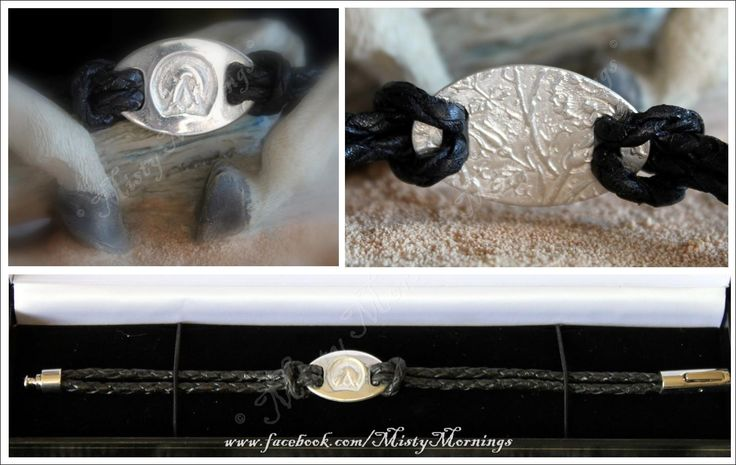 silver and leather bracelet, Barefoot Hoofprint www.facebook.com/MistyMornings #Barefoot #Equestrian #Equine #Horse #Pony #Hoof