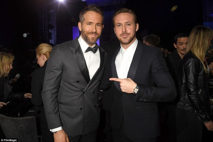 Handsome contest: Ryan Reynolds and Ryan Gosling posed for a picture backstage...