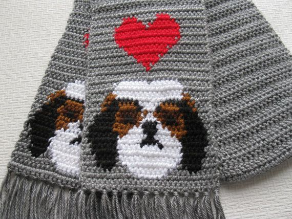 Knit Dog Scarf Pattern : Shih Tzu dog scarf. Grey knit and crochet scarf with shih tzus and red h...