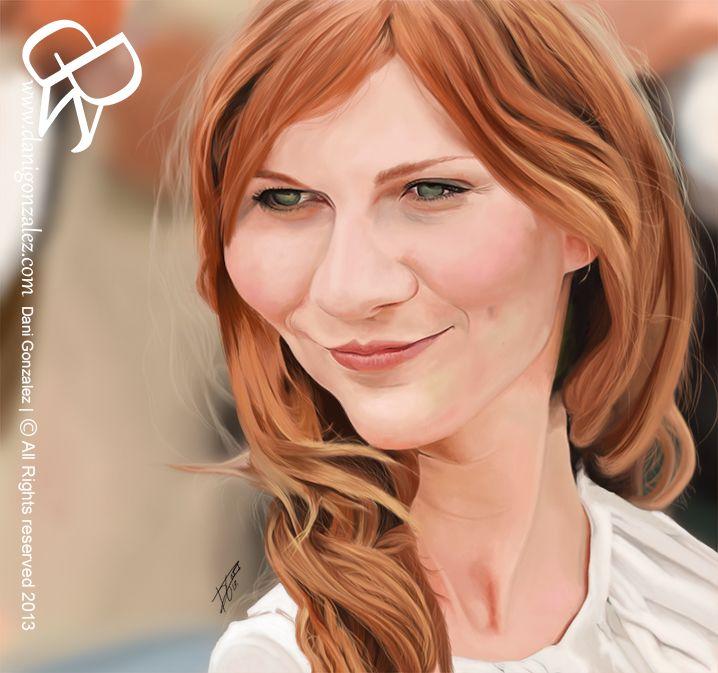 #Kirsten #Dunst #digital #caricature. by #Dani Gonzalez