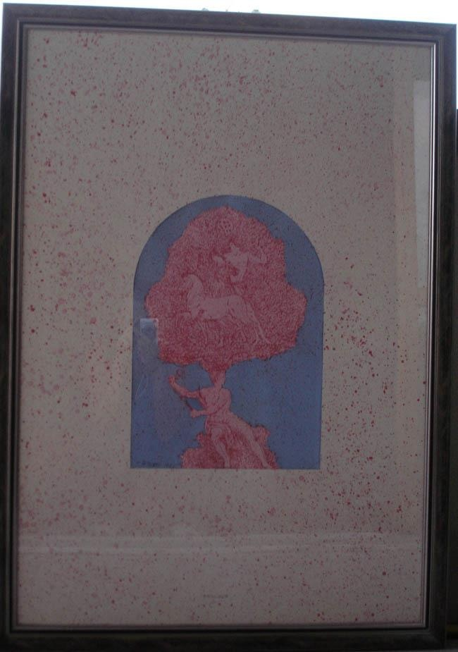 "Fernando De Filippi: ""L'albero poeta"" 1986 cm. 100 x 70, acrilico su carta"