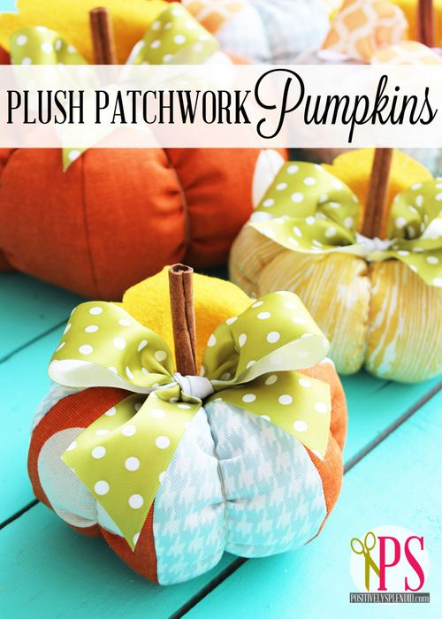 Darling plush pumpkins in three sizes! Free pattern included.