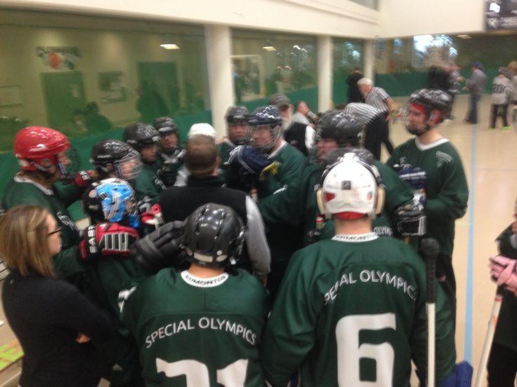"Team huddle for Floor Hockey ""B"""
