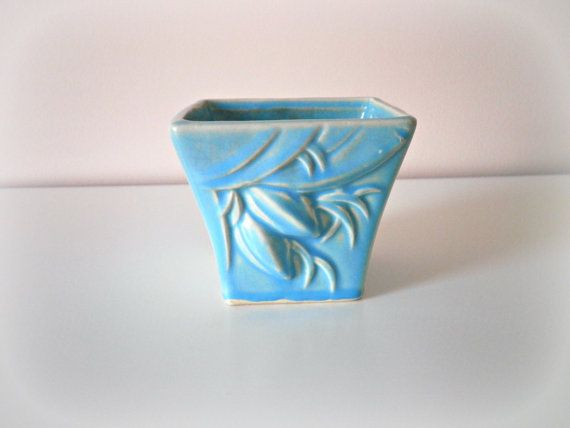 McCoy Pottery Planters | Vintage Mid Century Blue McCoy Pottery Vase Planter