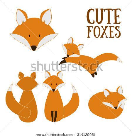 Set of cute foxes. Vector cartoon fox isolated on white. Sitting, sleeping, jumping fox. Flat design illustration. - stock vector