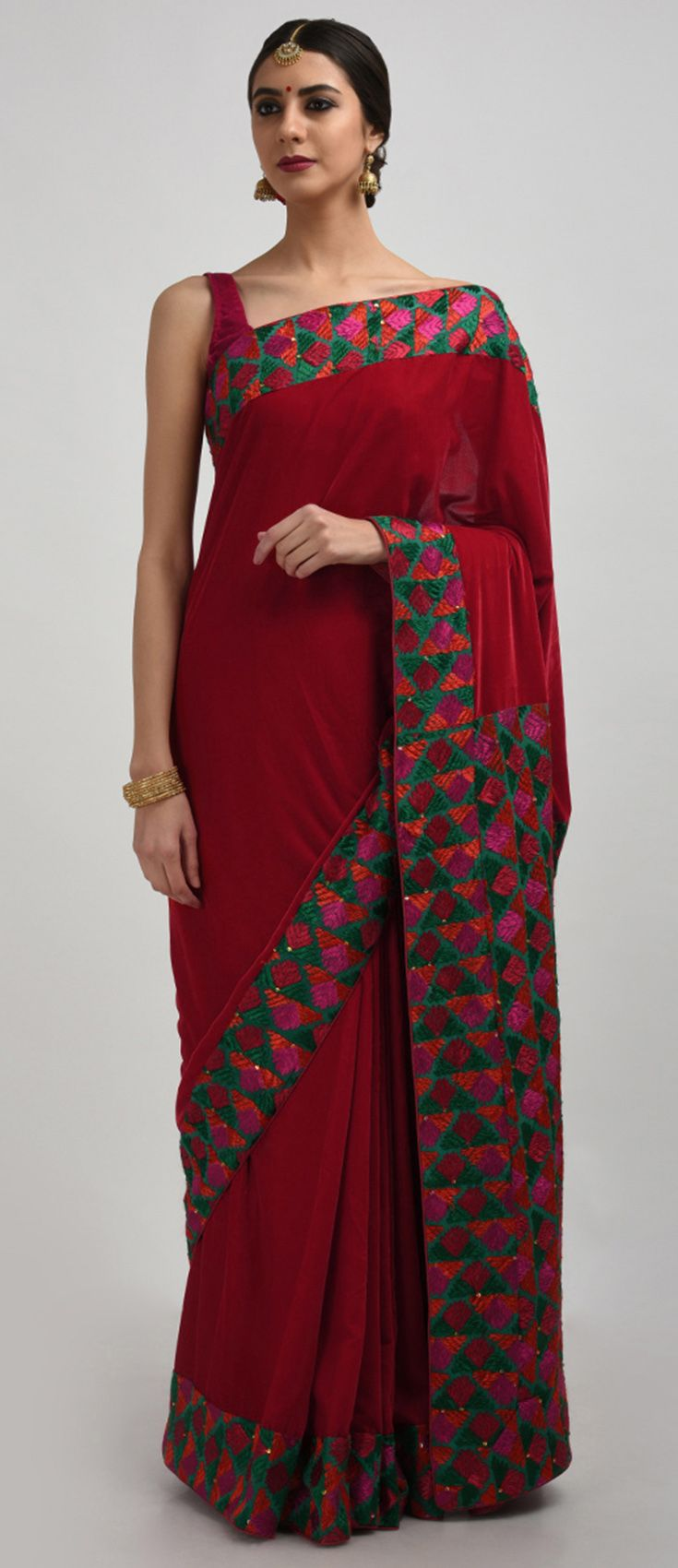 Velvet saree images blood red velvet saree with green phulkari hand embroidery  the