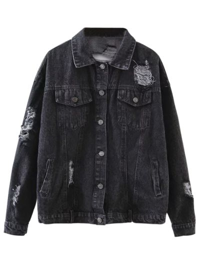 SHARE & Get it FREE | Graphic Distressed Denim Jacket - BlackFor Fashion Lovers only:80,000+ Items • New Arrivals Daily Join Zaful: Get YOUR $50 NOW!