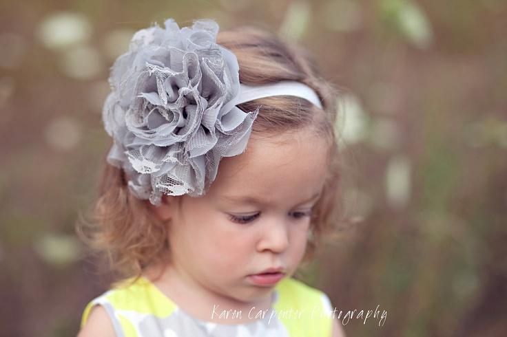 Large Flower Headband, Gray Flower Headband, Baby Headband, Lace Flower Headband, Shabby Chic headband. $9.99, via Etsy.