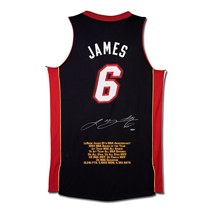 LEBRON JAMES SIGNED MIAMI HEAT 10TH ANNIVERSARY STATS JERSEY UDA LE 50 - Game Day Legends - www.gamedaylegends.com Sports Memorabilia