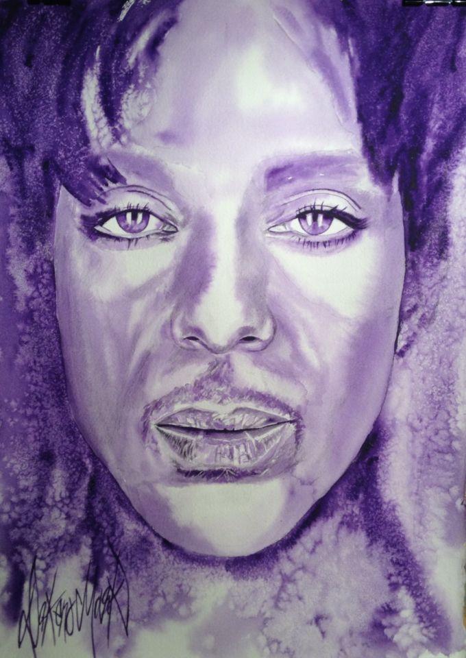 #prince original watercolour of Prince by Dakeno Mark 2016