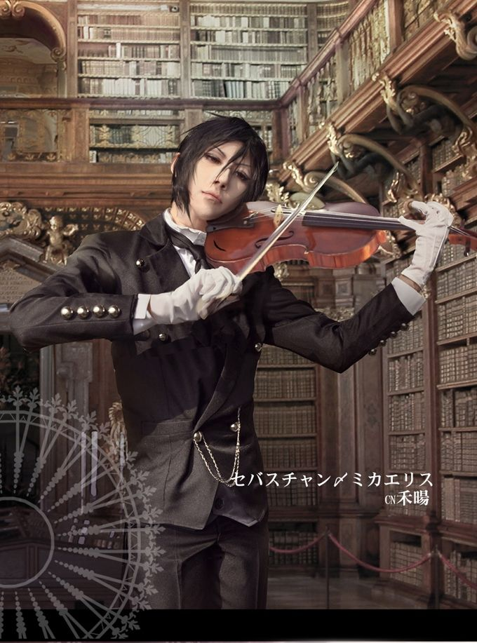 Sebastian cosplay<<< ok not gonna lie; I really do like this cosplay. The thing is, he/she isn't HOLDING THE VIOLIN PROPERLY THE CHIN IS SUPPOSED TO BE ON THE CHIN REST NOT THE CHEEK