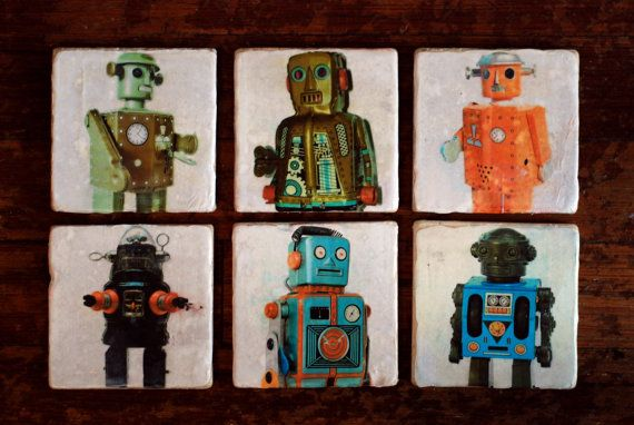 Vintage Robot Italian Marble Coasters by BreakebleDesigns on Etsy