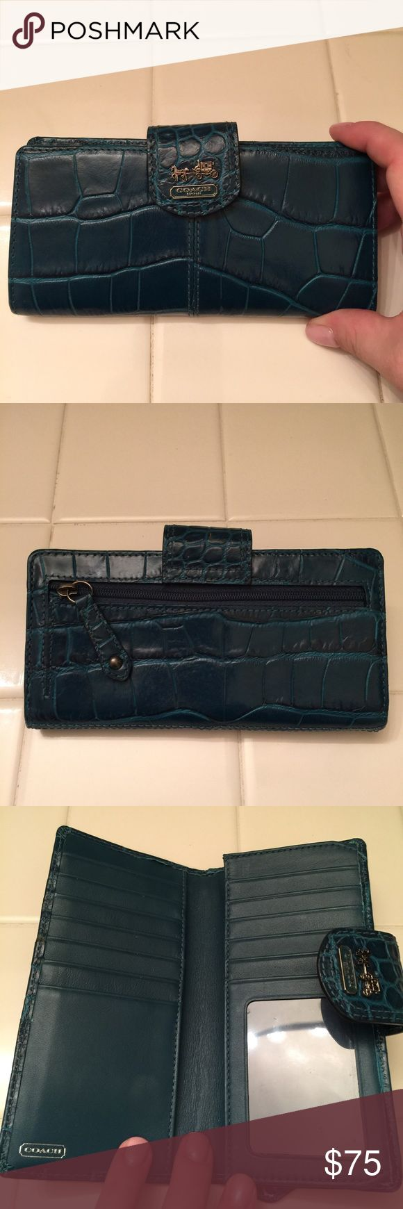 Coach croc embossed leather skinny Wallet Coach embossed leather skinny wallet in teal blue. Like new condition. Gunmetal hardware. Coach Bags Wallets