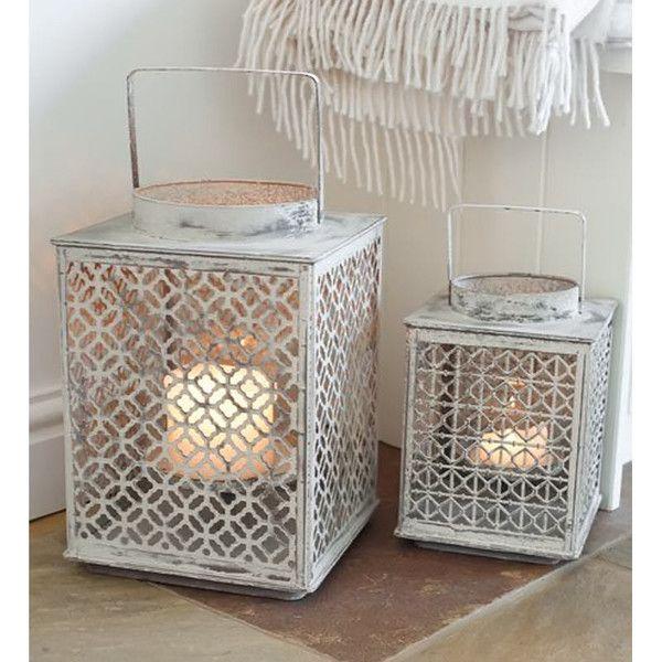 Etched White Lantern -2 Sizes