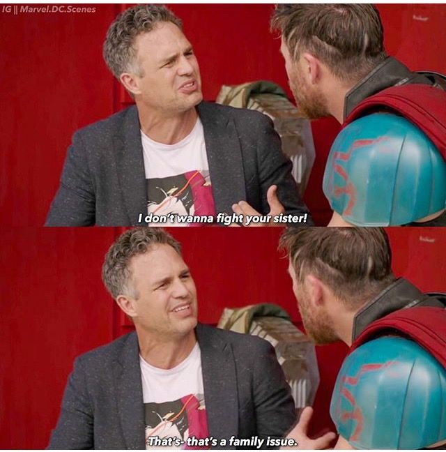 """Bruce just got un-Hulked after 2 years and now his """"friend"""" wants to use him to end a family fight. Let him breathe for a minute, Thor."""