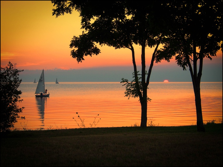 Goal for 2014..go on a vacation...Sunset in Sister Bay, Door County, Wisconsin.