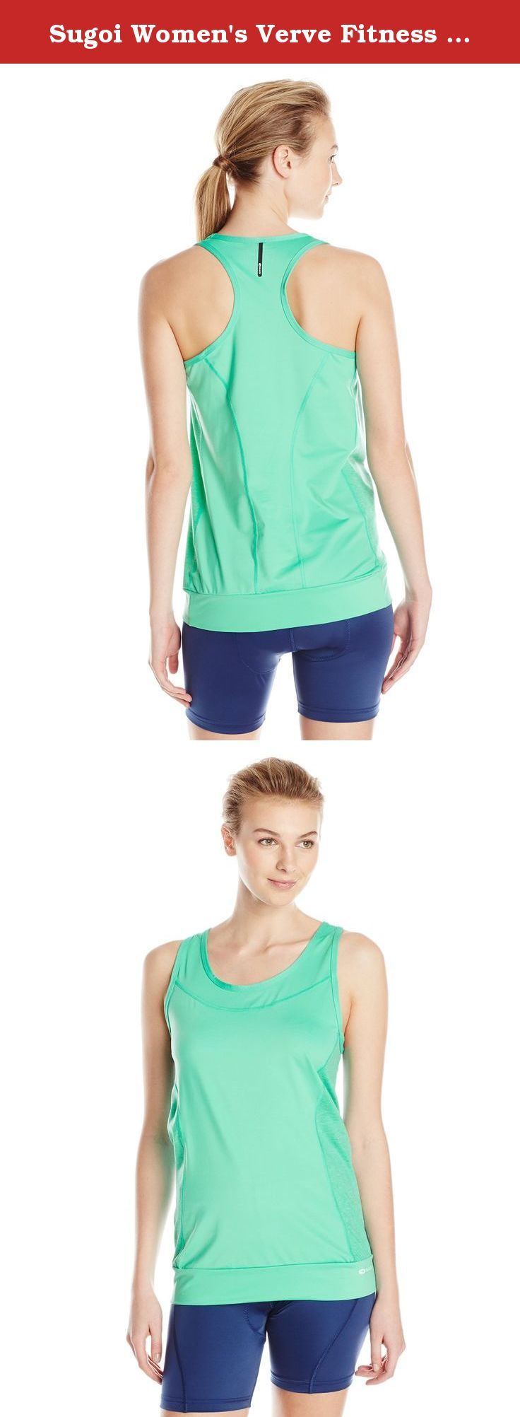 Sugoi Women's Verve Fitness Tank Top, Glacier, Small. This stylish top uses multiple material construction, matching its performance to its good looks. Helix Lite and Helix Lite melange fabric for a cool aerobic environment Open-scoop neckline and longer silhouette for relaxed fit Figure flattering design lines.