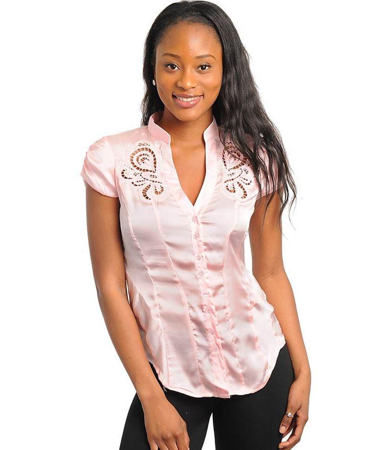 Light Pink Career Silk Satin Button Up Cap Sleeve Blouse Shirt Top