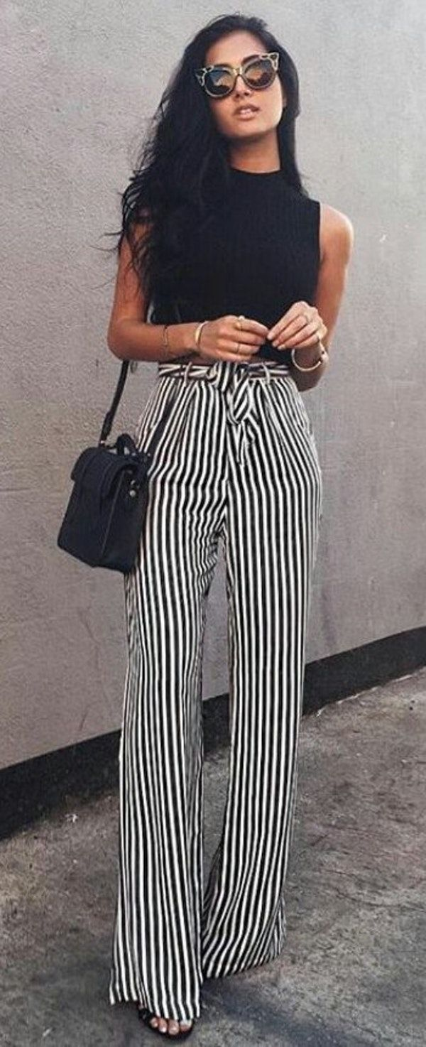 21 Best Fashion Images On Pinterest Outfit Ideas Casual Wear And Kim Angelica Chocker Hole Dress Broken White Spring Outfits Black Tank Striped Wide Pants