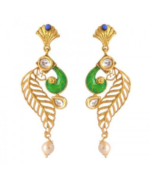 Women's Antique Kundan Polki Copper Earrings_Blue Green11