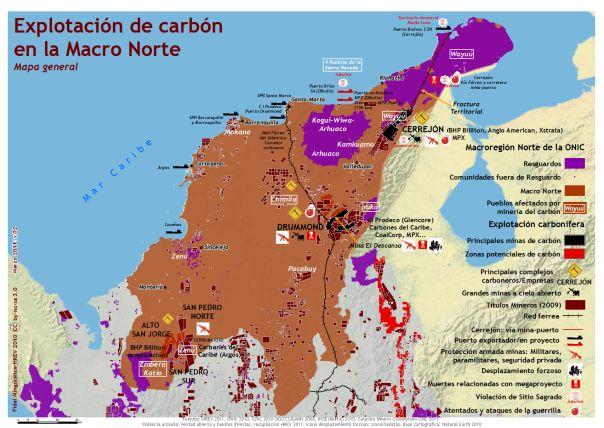 Explotación de carbón en la zona norte de Colombia